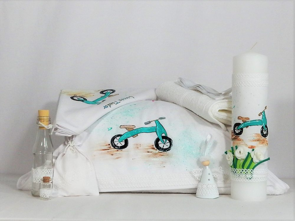 Set pictat trusou și lumânare botez Bicicleta
