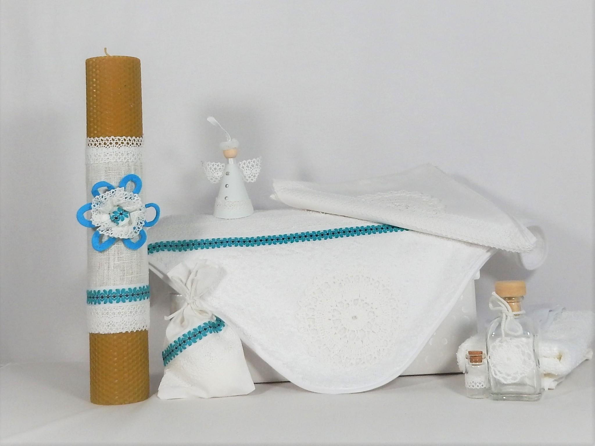 Set trusou botez alb tradițional cu lumânare - Hai la horă! Albastru