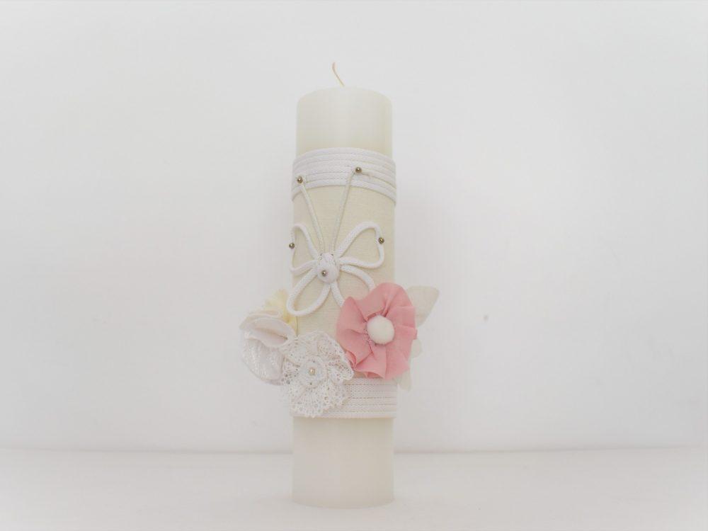 Lumânare delicată botez fetițe- Fluturaș Alb pe Roz