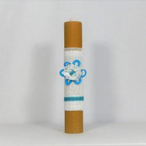 Lumânare traditionala din ceară de albine- Hai la Horă! Albastră
