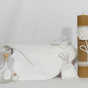 Set inedit botez trusou alb cu lumânare- Flori de Iasomie