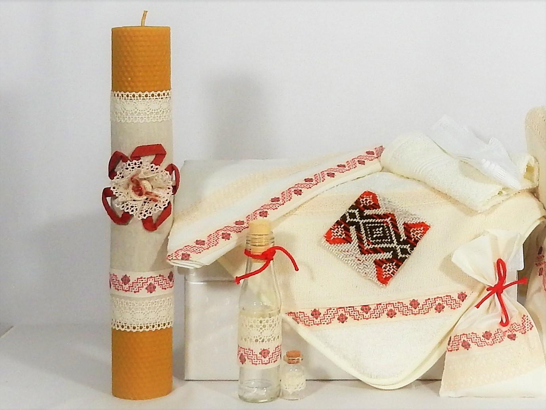 Trusou tradițional cu lumânare ceară naturală pentru botez- Petic Țesut