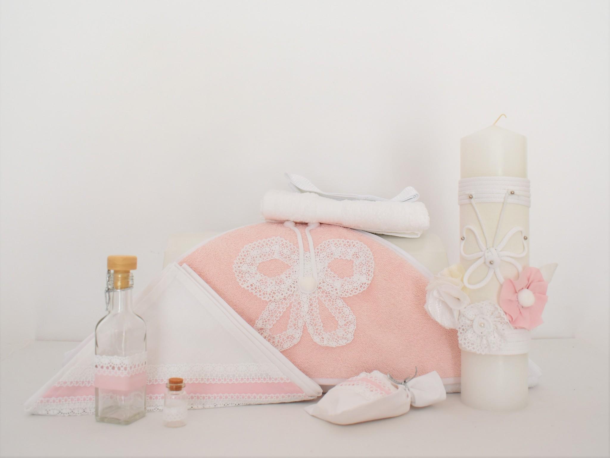 Set trusou roz cu lumânare pentru botez - Fluturaș Alb