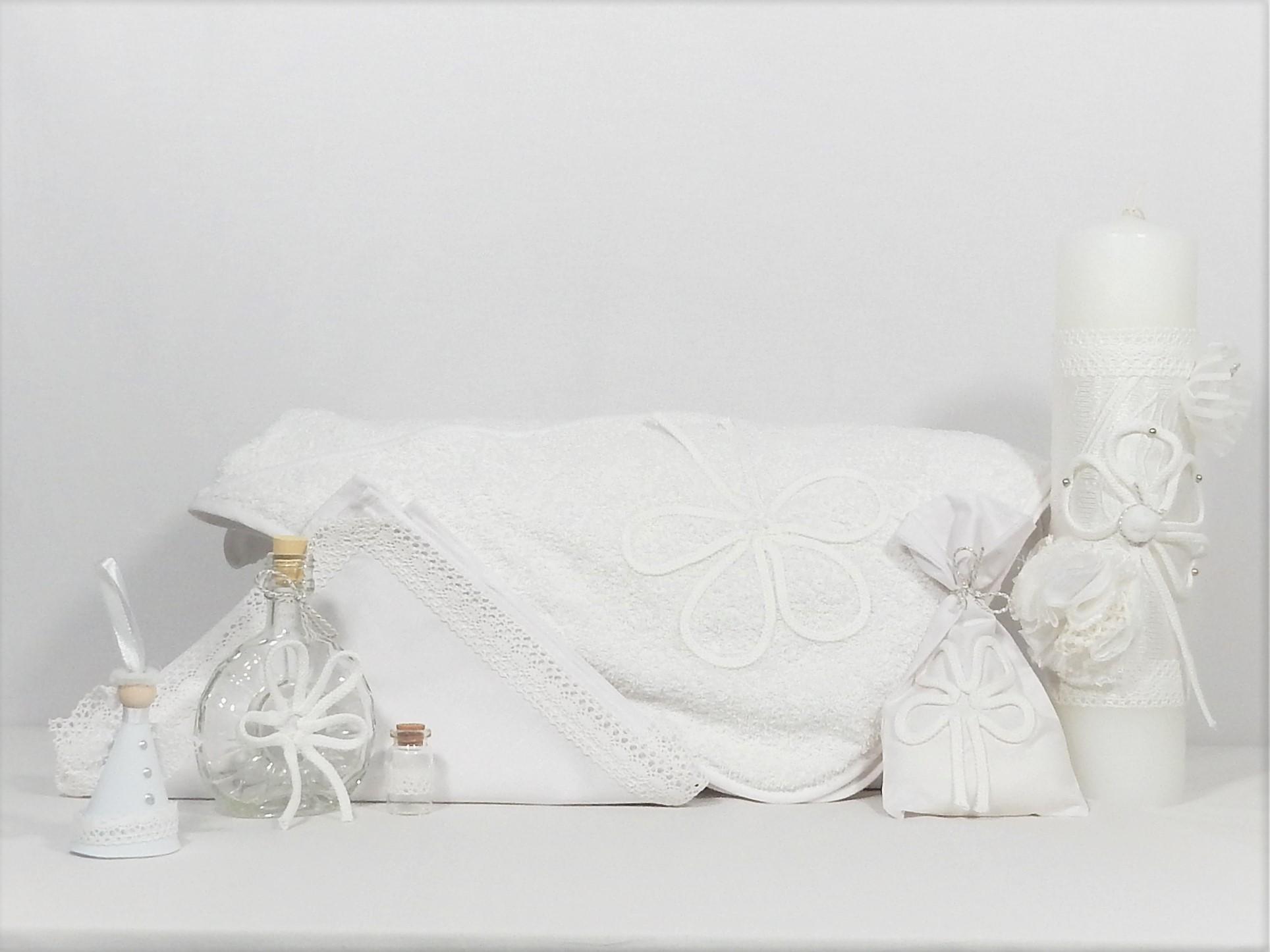 Set botez trusou alb cu lumânare biserică- Ursitoarea cu Noroc