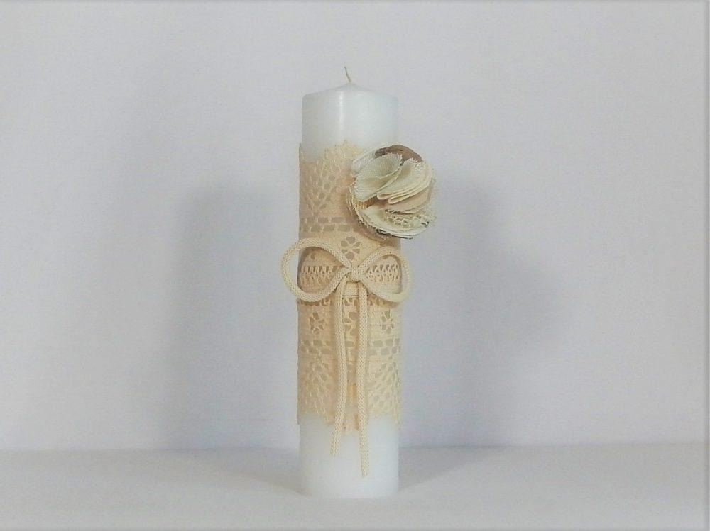 Lumânare ivoire unicat pentru botez Dantela Bunicii