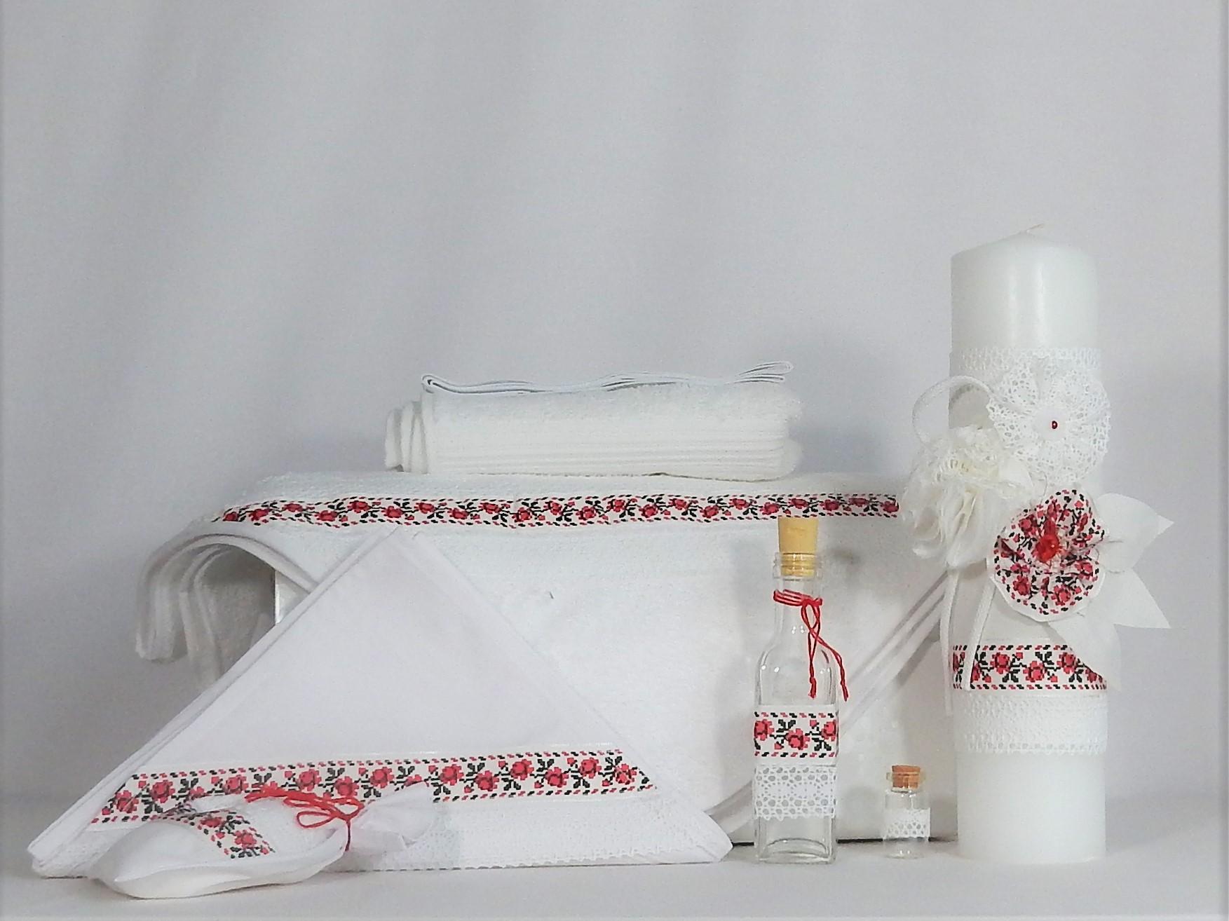 Set alb traditional pentru botez de vară- Trandafir de la Moldova