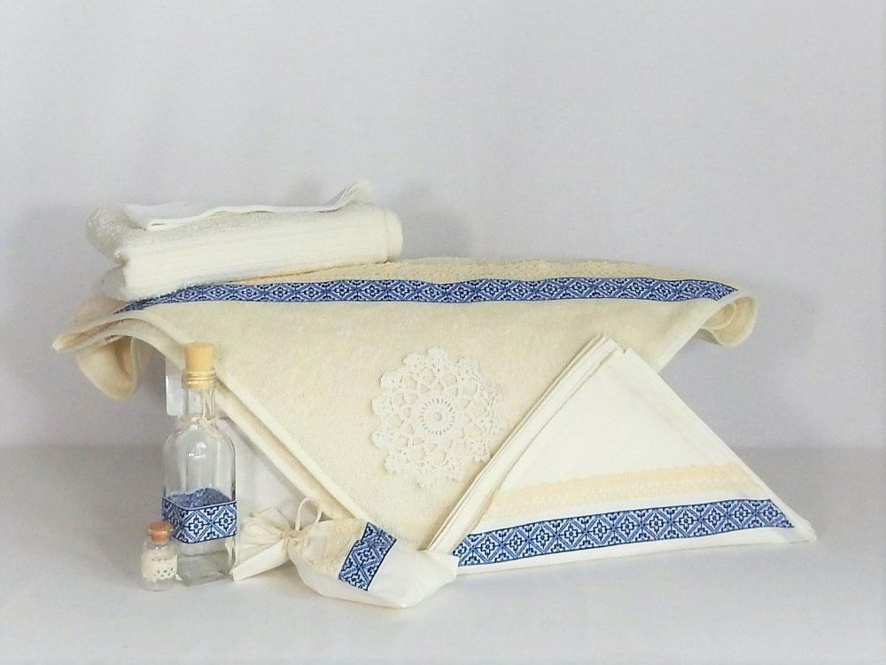 Trusou ivoire pentru botez biserică- Cusătură Albastră