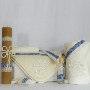 Set botez tradițional- trusou cu lumânare ceară naturală și păturică- Cusătură Albastră