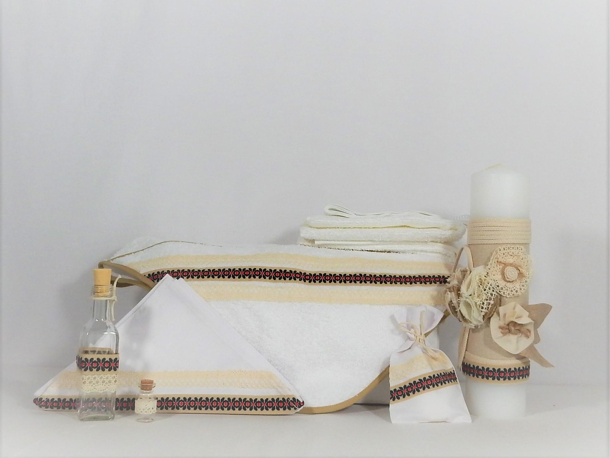 Set alb botez tradițional -trusou și lumânare Odorul Bunei