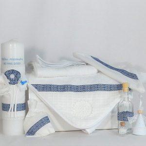 Set trusou tradițional cu lumânare pentru botez- Cusătură Albastră