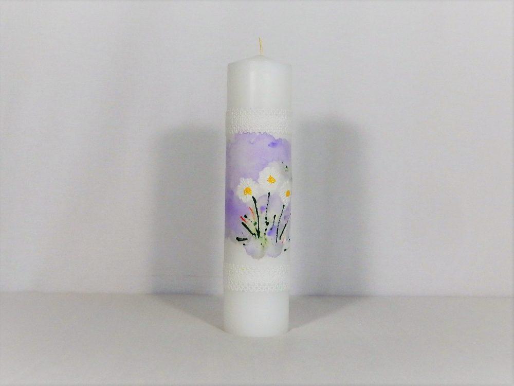 Lumânare pictată pentru botez fetițe- Mărgărite