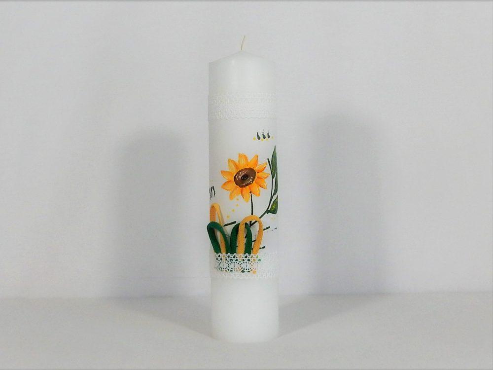 lLumânare pictată pentru botez inedit- Floarea Soarelui