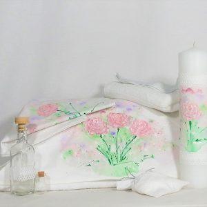 Set pictat trusou și lumânare botez Trandafiri