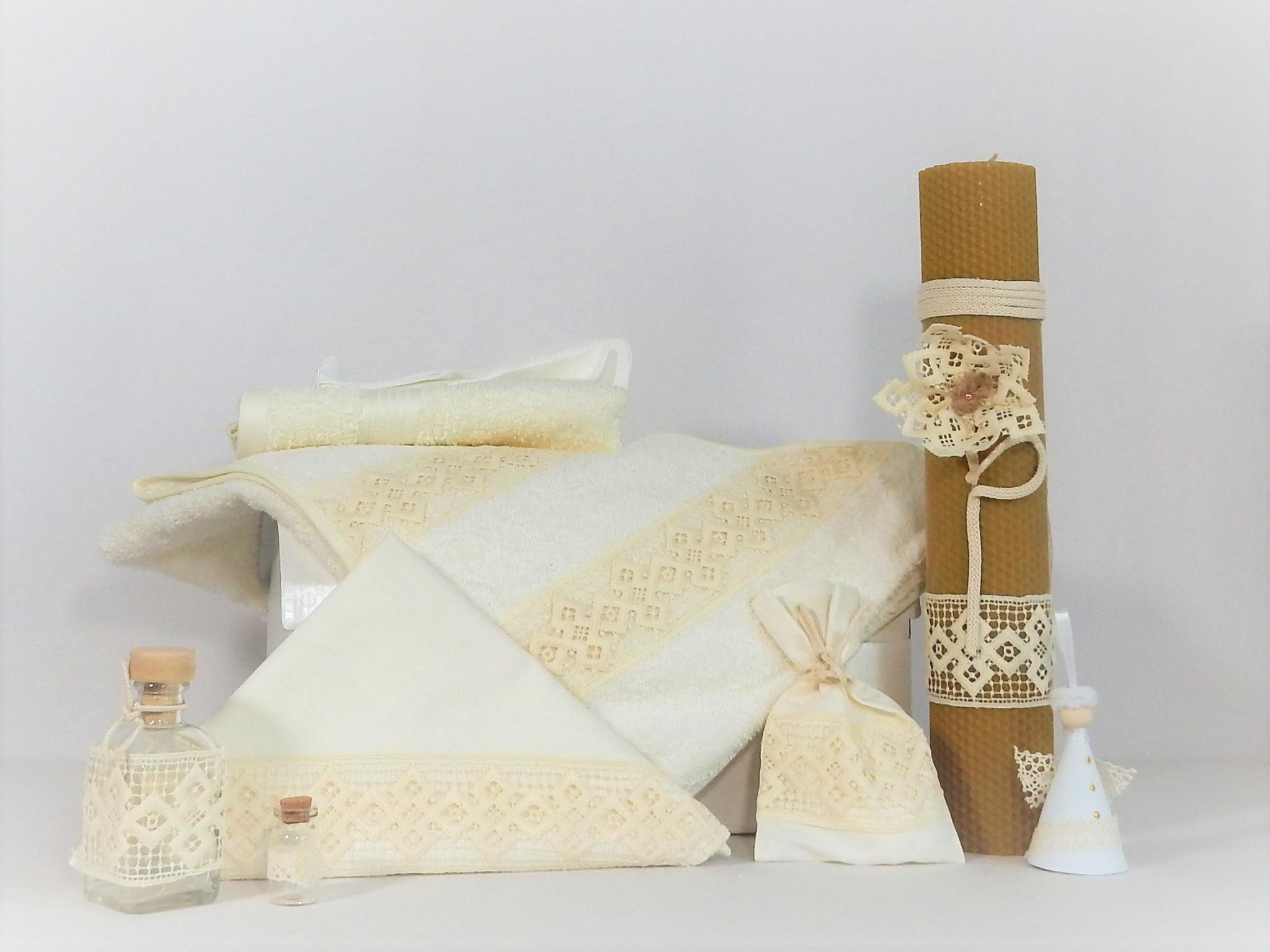 Set botez ivoire trusou cu lumânare ceară naturală- Boabe de Grâu