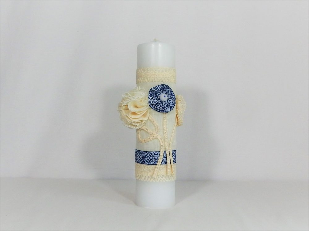 Lumânare traditionala ivoire pentru botez-Cusătură Albastră