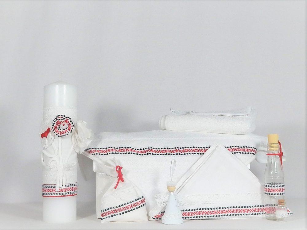 trusou botez alb traditional folclor rosu si negru