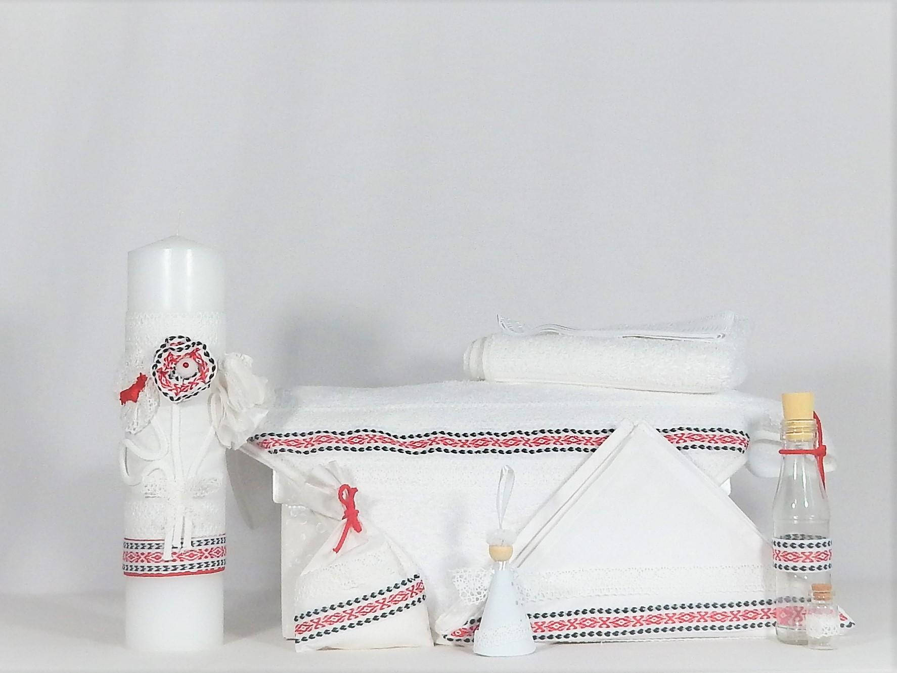 Set trusou alb tradițional și lumânare pentru botez- Folclor în Roșu și Negru