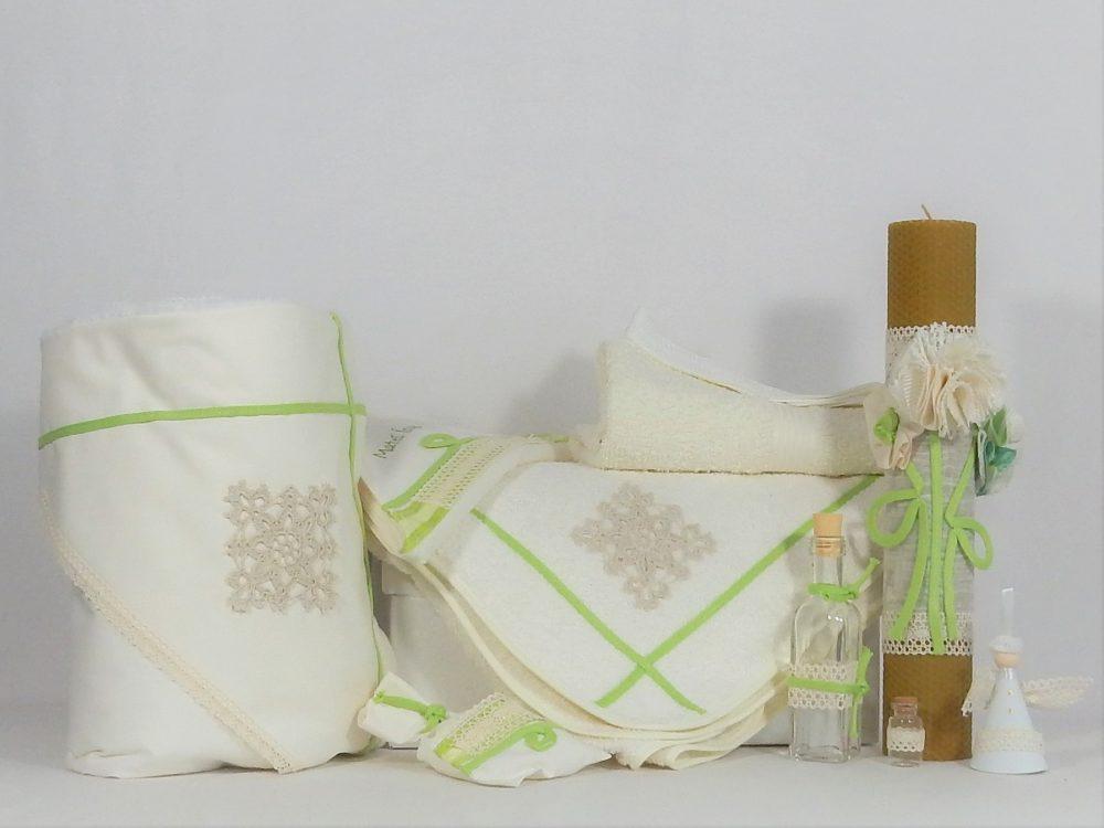 Set botez ivoire- trusou, lumânare ceara de albine, păturică- Iarba Verde de Acasă