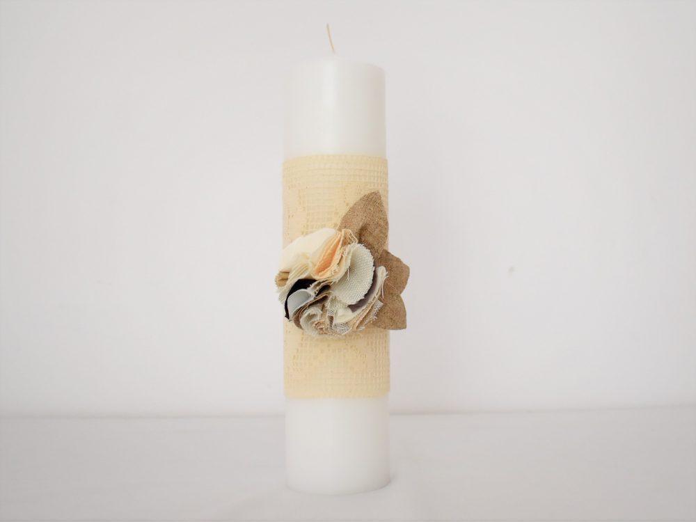 Lumânare unicat ivoire pentru botez- Trandafiri Dantelați