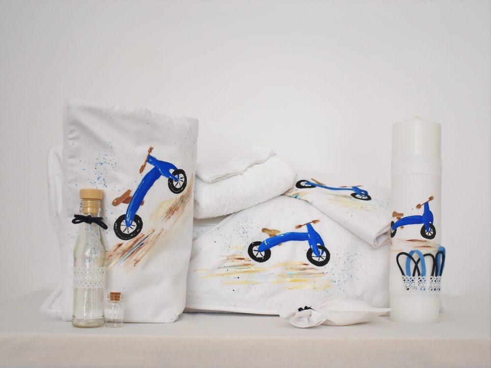 Colecția de botez pictată cu Bicicleta Albastră