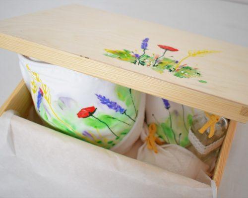 cufar lemn mare pentru trusou botez pictat