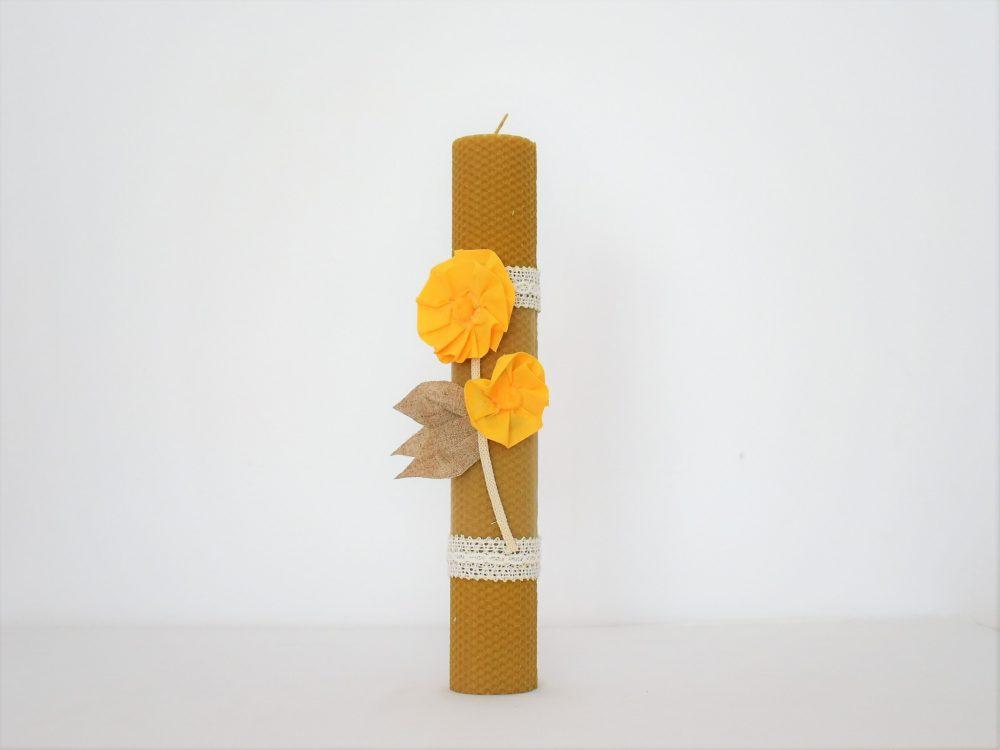 Lumânare unicat din ceară de albine pentru botez- Soarele Meu