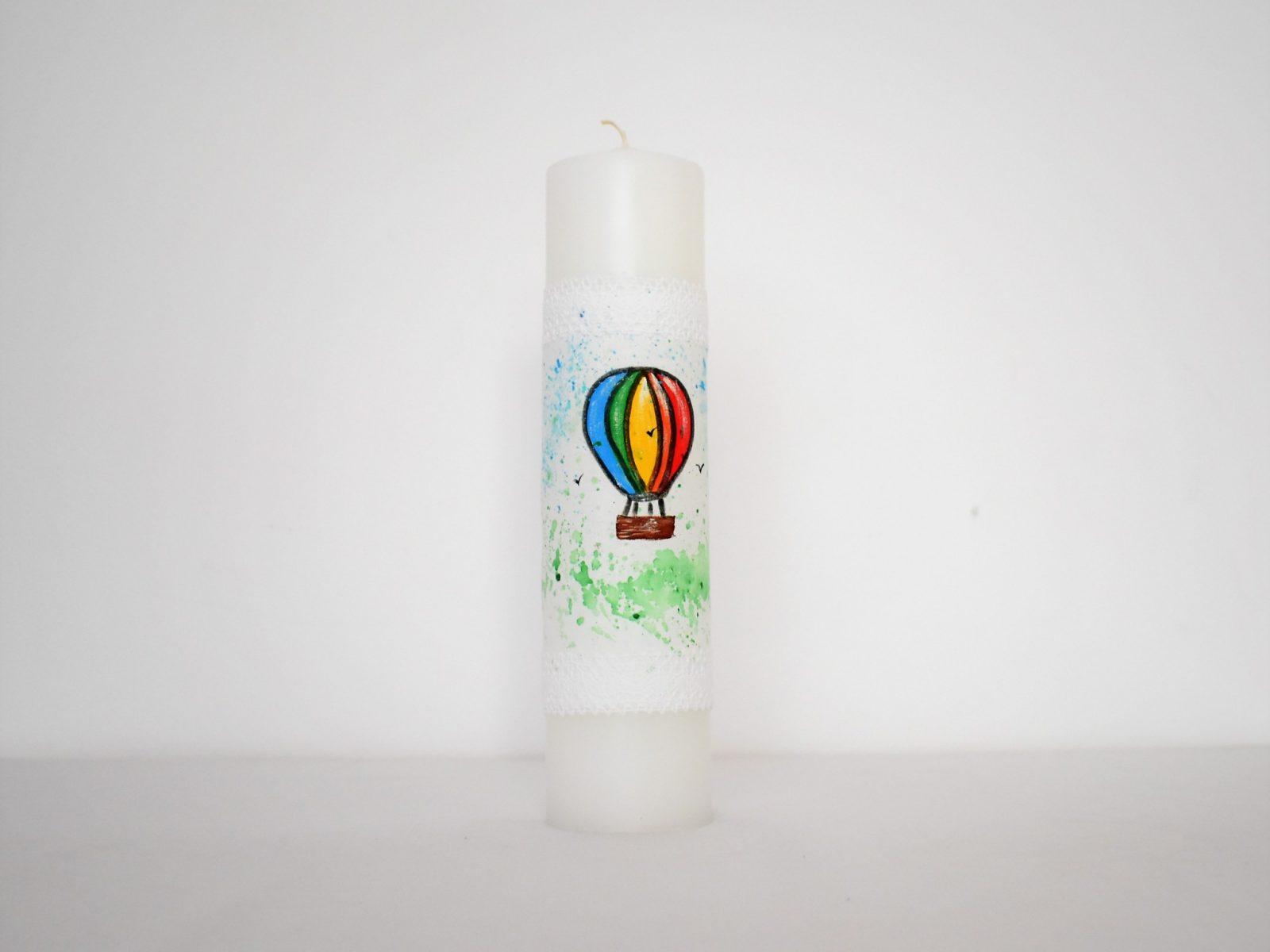 Lumânare pictată deosebită pentru botez- Plutind in Balon
