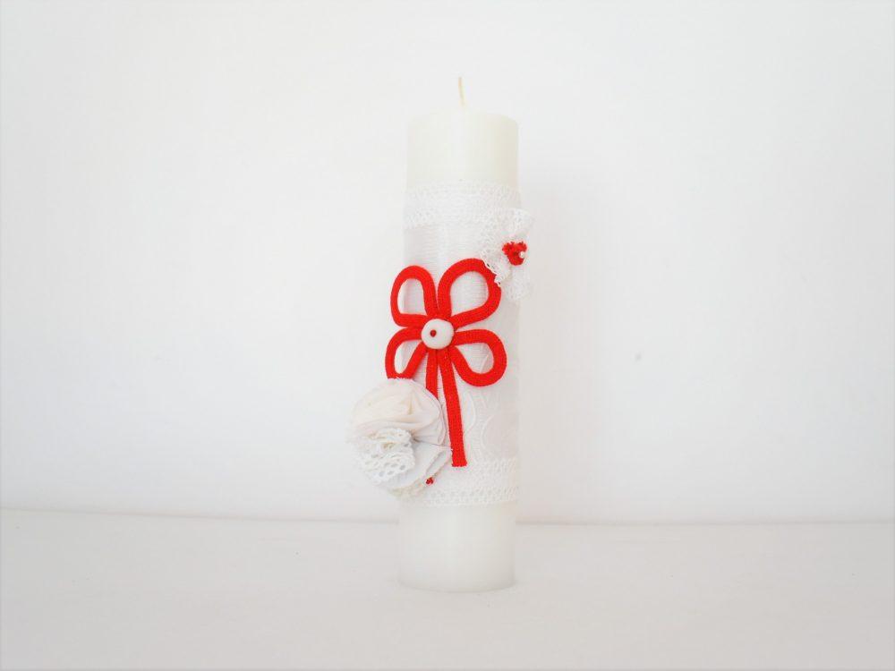 Lumânare unicat albă pentru botez- Noroc Roșu