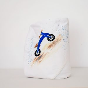 Păturica pictata pentru botez băieți- Bicicleta Albastră