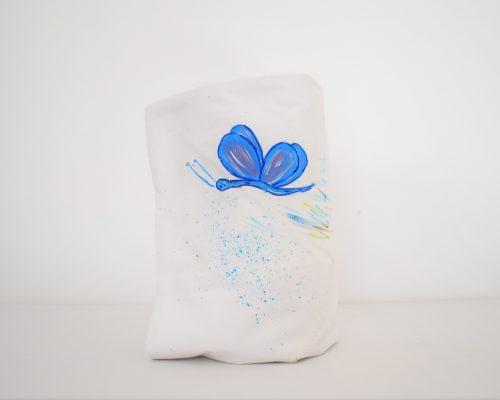 Păturica botez glugă pictată Fluturașul Albastru