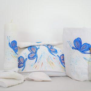 set pictat botez unicat fluturas albastru1
