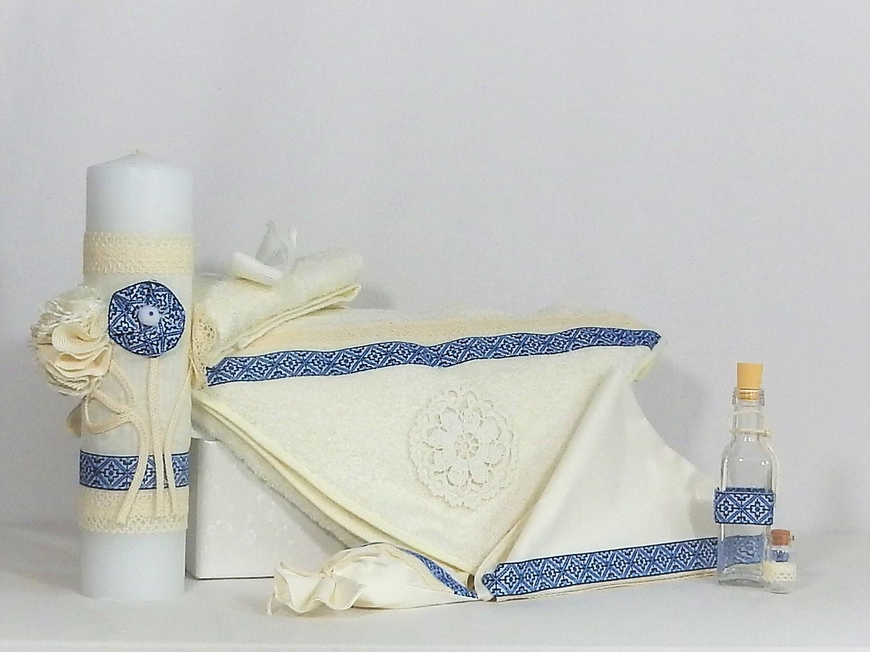 Set ivoire botez tradițional -trusou și lumânare Cusătură Albastră