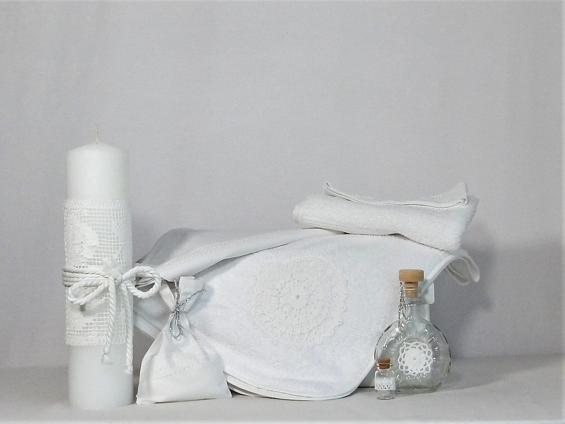 Set alb pentru botez Trusou și lumânare - Spuma Laptelui