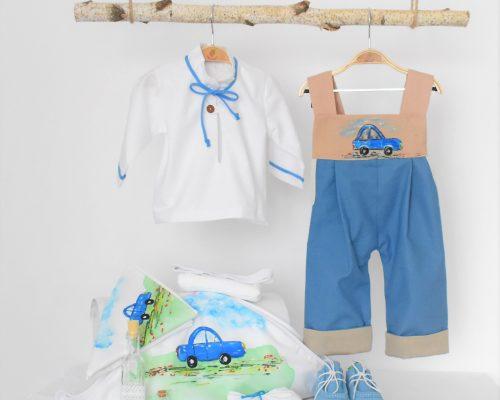 Colecția pictată pentru botez baieti Masinuța Albastră