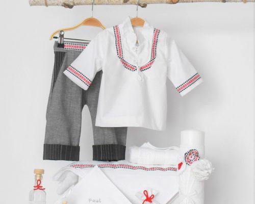 Colecția botez unic Folclor in alb și roșu