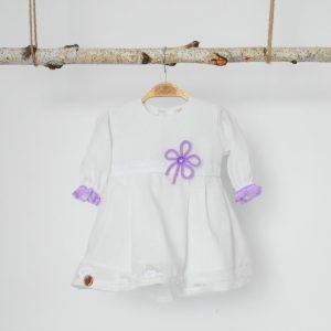 Rochița albă inedită pentru botez- Noroc Lila
