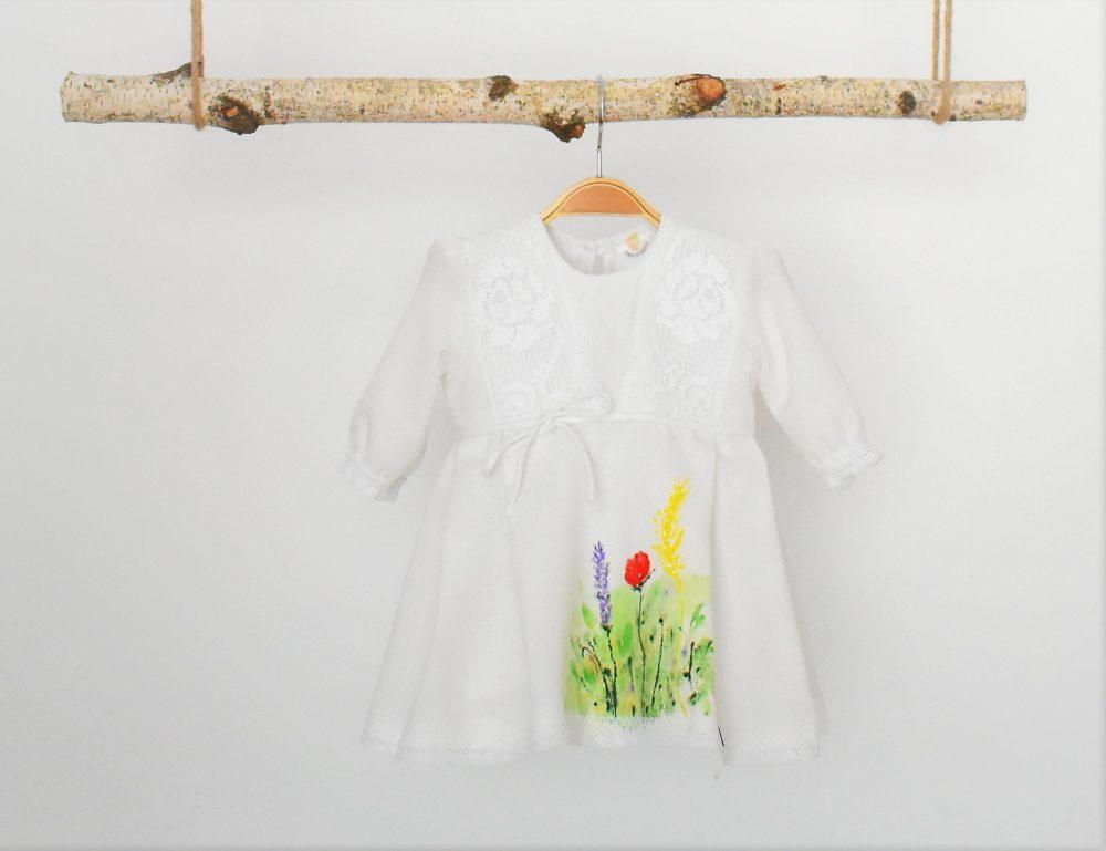 rochita unicat pictata pentru botez Flori de Camp