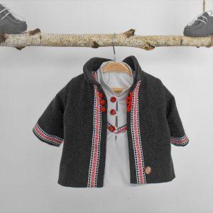 Mantou pentru botez tradițional băieți- Folclor Alb și Roșu