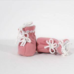 Botoșei roz din stofiță pentru fetițe -Fulgi de Nea