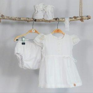 Compleu vintage alb pentru botez- De Modă Veche