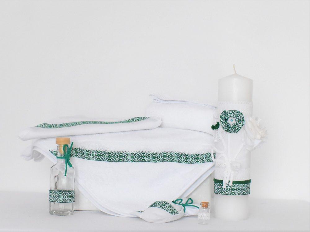 Trusou alb pentru botez traditional- Folclor Verde